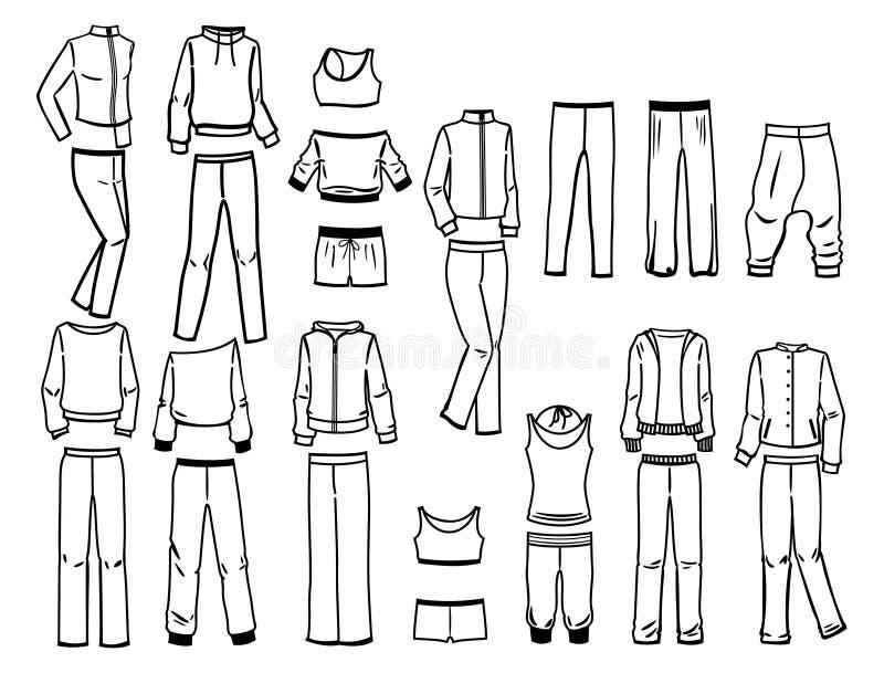 Konturen der Sportkleidung lizenzfreie abbildung