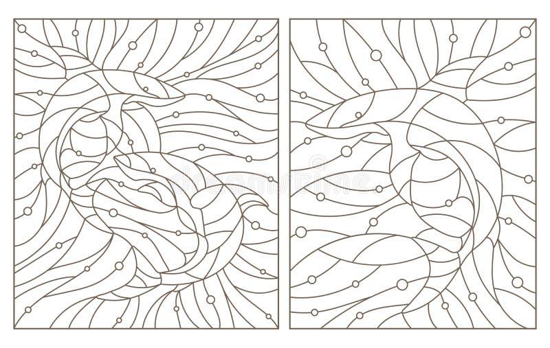 Konturen ställde in med illustrationer av målat glass Windows med hajar, mörka konturer på en vit bakgrund stock illustrationer