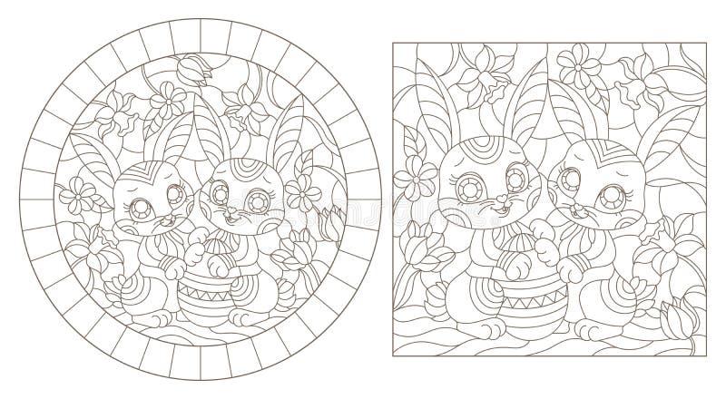 Konturen st?llde in med illustrationer av m?lat glass Windows med roliga det p?skkaniner och ?gget p? en bakgrund av blommor, m?r royaltyfri illustrationer