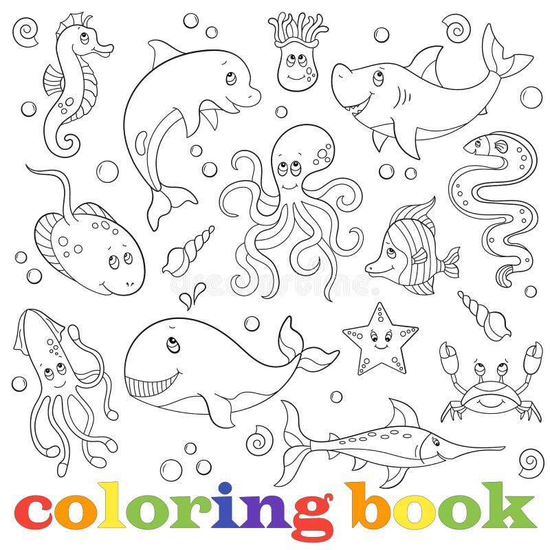Konturen st?llde in med illustrationer med marin- liv, roliga tecknad filmdjur p? en bl? bakgrund, f?rgl?ggningbok stock illustrationer
