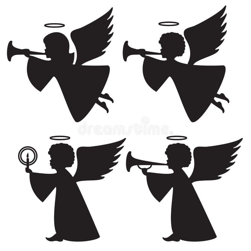 Konturer av änglar vektor illustrationer