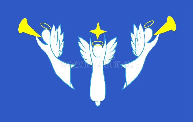 Konturer av änglar för vit jul vektor illustrationer
