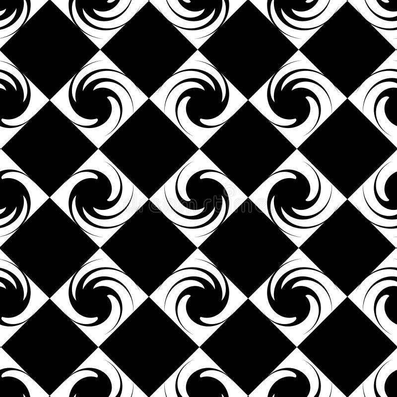 Konturer av abstrakta dekorativa spiral i fyrkanter vektor illustrationer