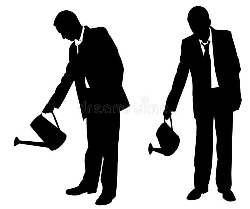 Konturer av affärsmän med spridaren vektor illustrationer