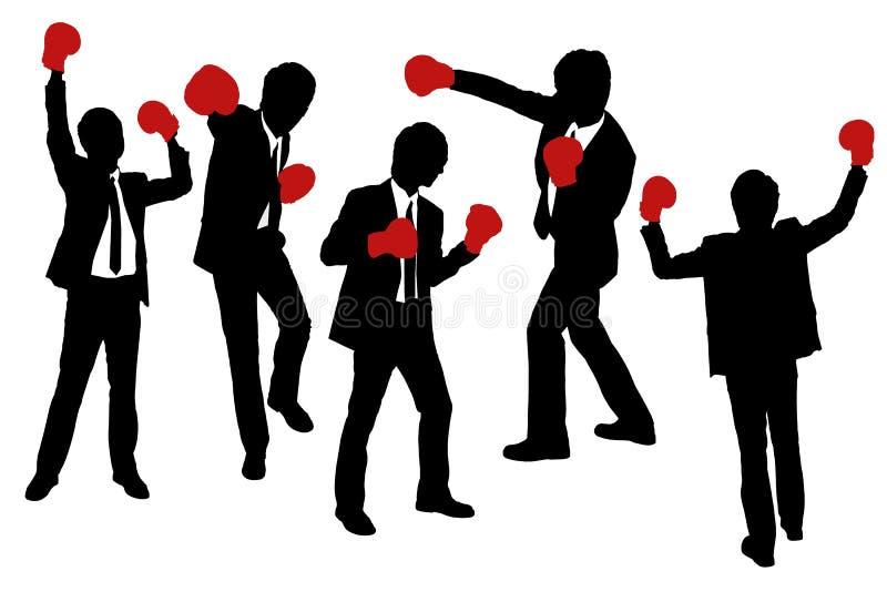 Konturer av affärsmän som bär boxninghandskar royaltyfri illustrationer