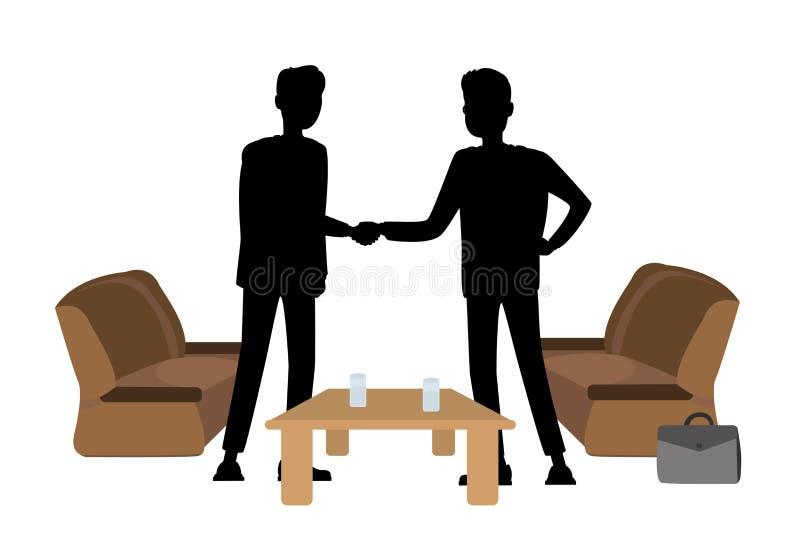 Konturer av affärsmän som skakar händer royaltyfri illustrationer