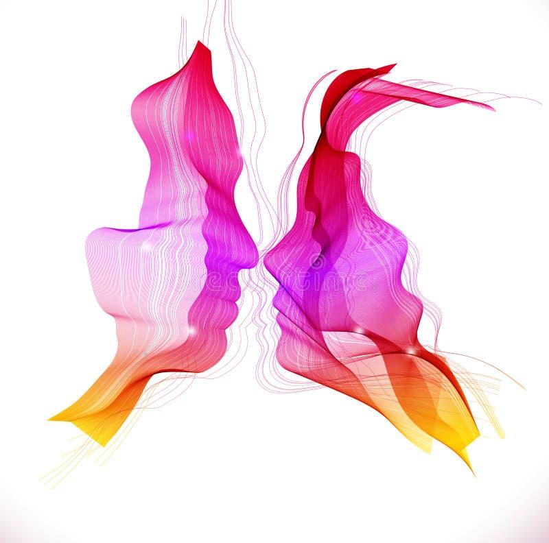 Konturer av att älska par, abstrakt illustration vektor illustrationer