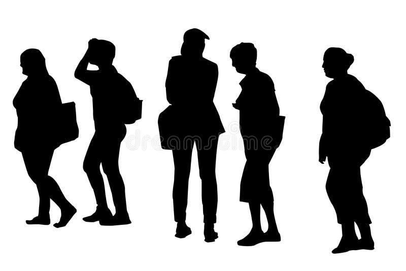 Konturer av att gå för folk royaltyfri illustrationer