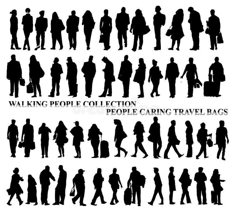 Konturer av att gå folk och att att bry sig påsar som talar på telefonen etc. stock illustrationer