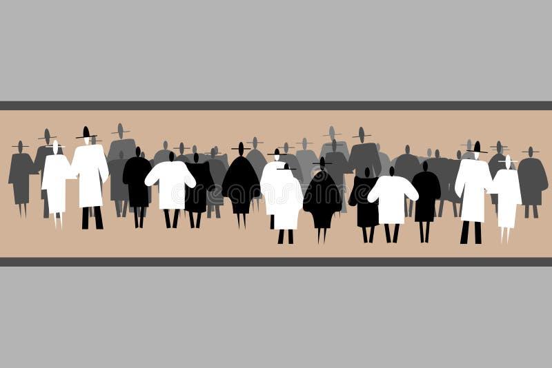 Konturer av att stå den stora grupp människor royaltyfri illustrationer