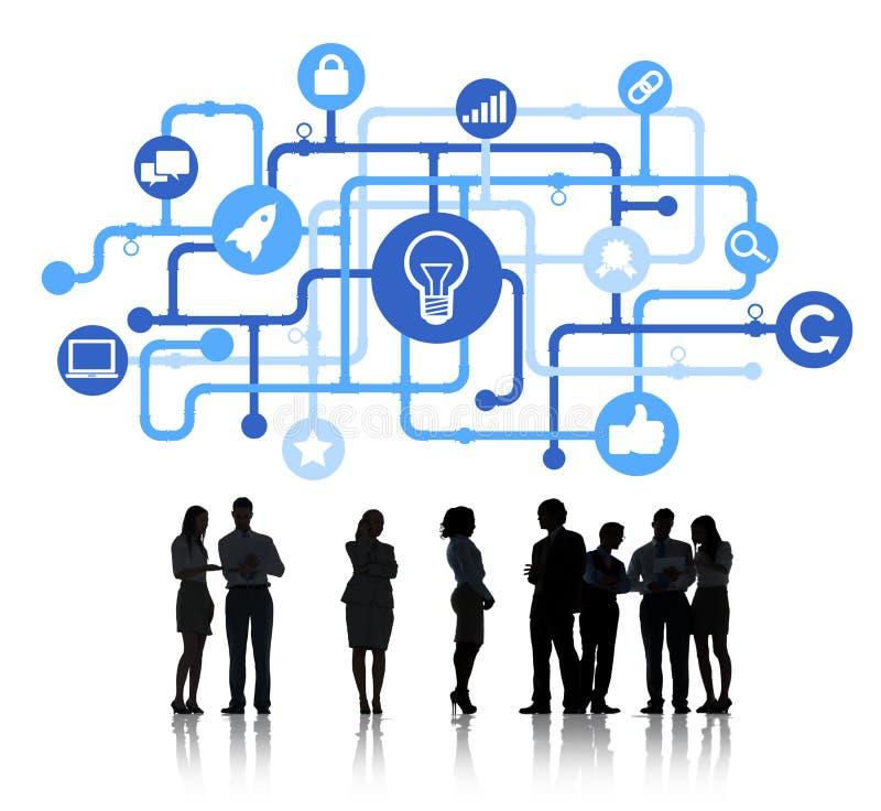 Konturer av begrepp för affärsfolk och innovation royaltyfria bilder