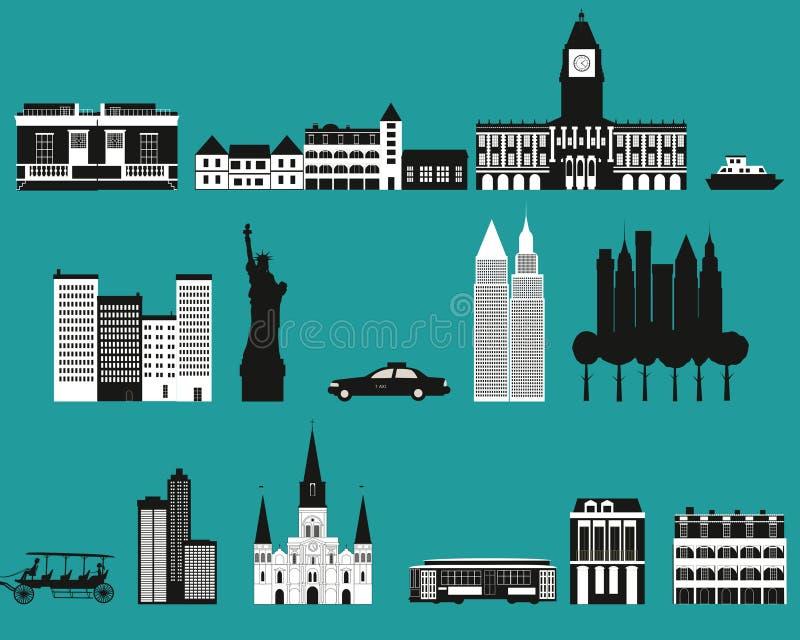 Konturer av berömda städer. stock illustrationer