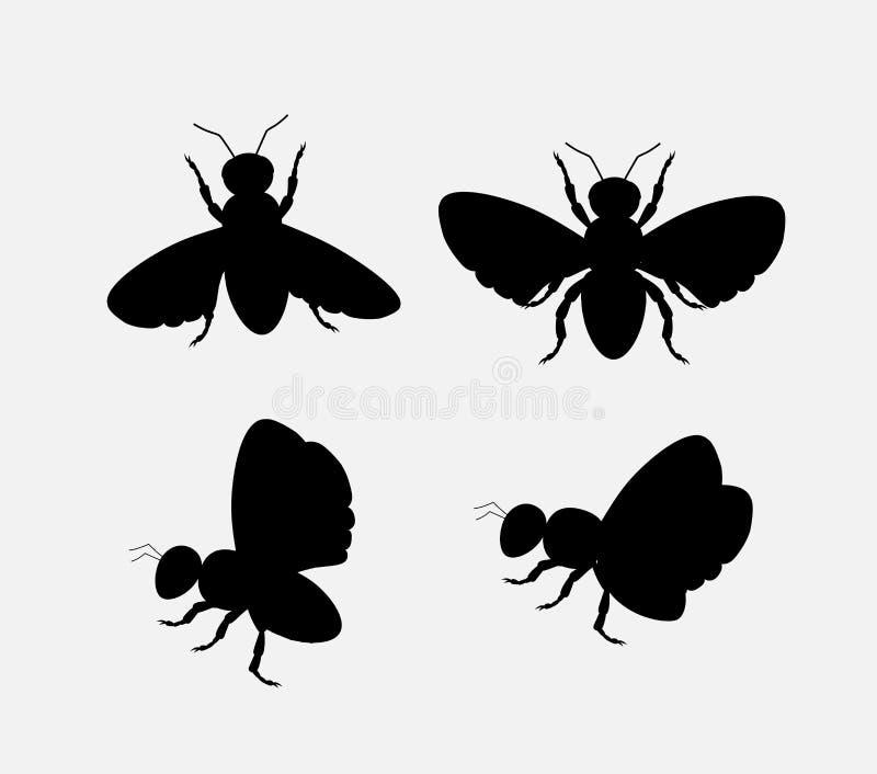 Konturer av bin och flugor royaltyfri illustrationer