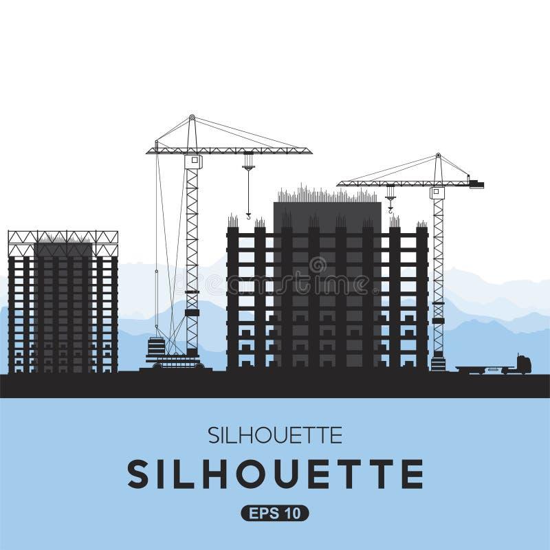 Konturer av byggnadshus Tornkran och hus av monoliten Plan illustration eps10 stock illustrationer