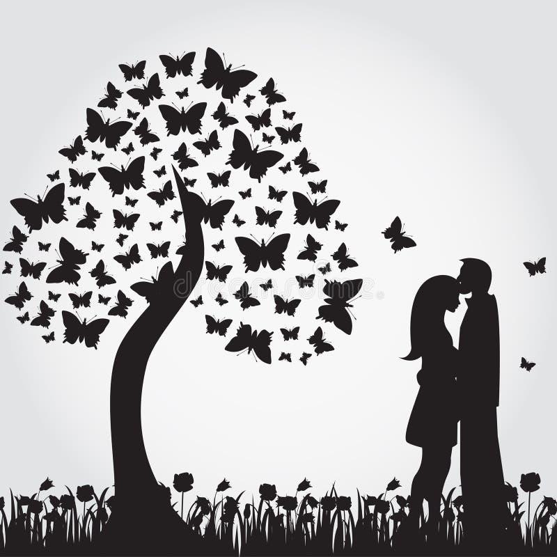 Konturer av det romantiska trädet från fjärilar och vänner stock illustrationer