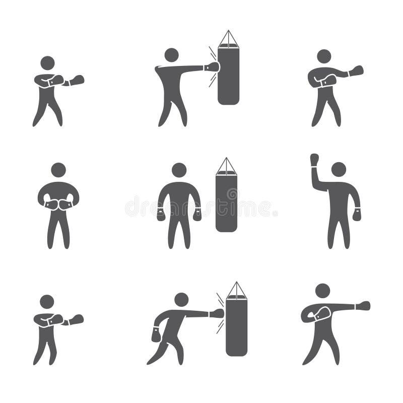 Konturer av diagram boxaresymboler Boxningsymboler royaltyfri illustrationer