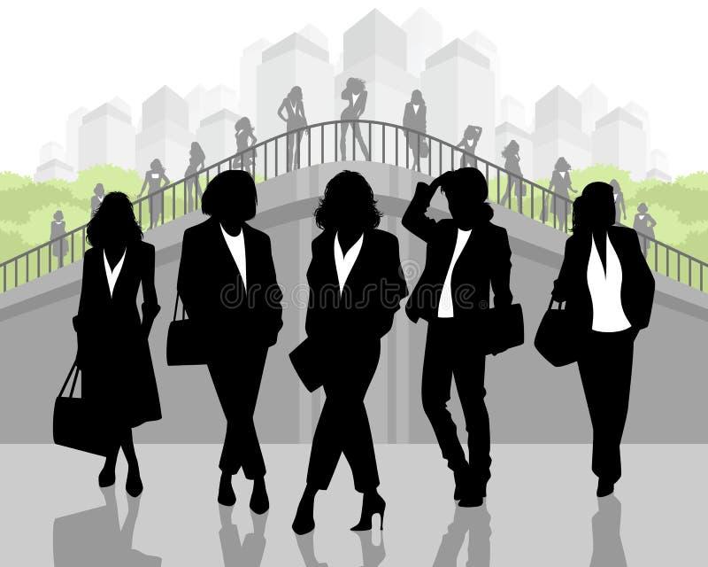 Konturer av eleganta affärskvinnor vektor illustrationer