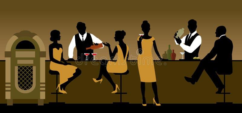Konturer av en grupp människor som dricker i en stång royaltyfri illustrationer