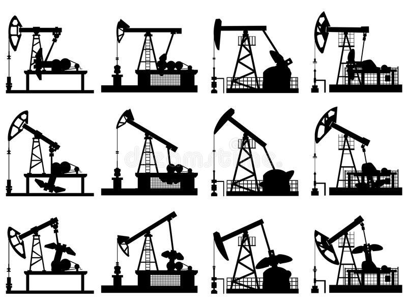 Konturer av enheter för olje- pump. royaltyfri illustrationer