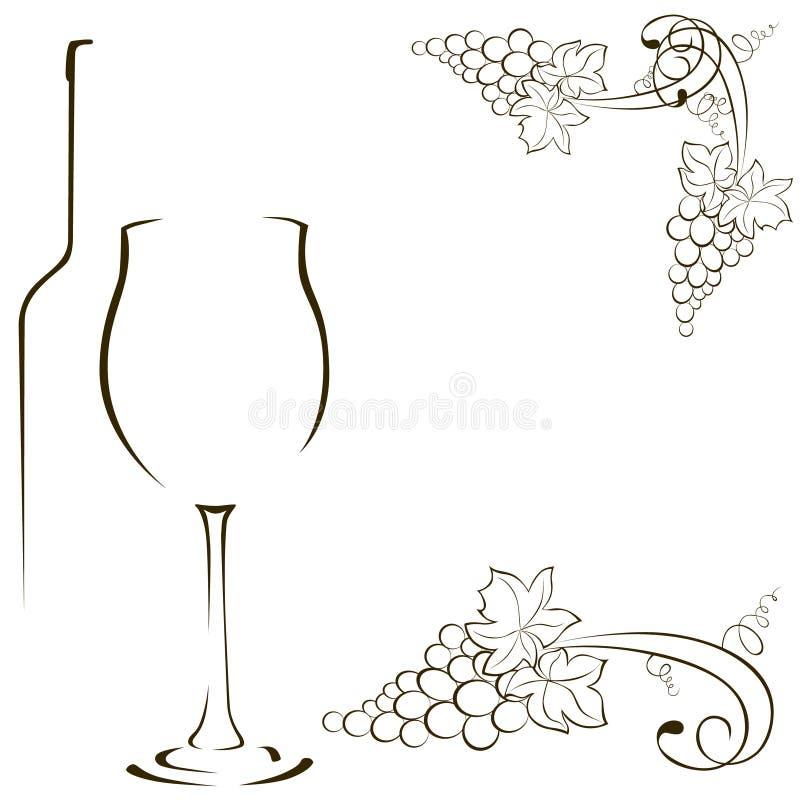 Konturer av exponeringsglas och flaskor av vin bland annat bana för gruppclippingdruvor royaltyfri illustrationer