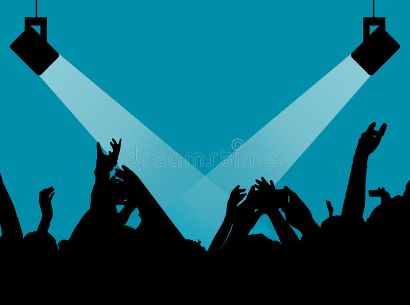 Konturer av folk i ett ljust i popet vaggar konsert framme av etappen Händer med gesthorn Det vaggar Parti i a vektor illustrationer
