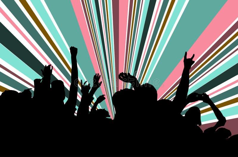 Konturer av folk i ett ljust i popet vaggar konsert framme av etappen Händer med gesthorn Det vaggar Parti i a royaltyfri illustrationer