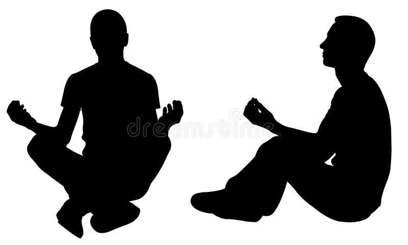 Konturer av folk i yogaposition royaltyfri illustrationer