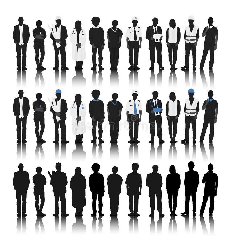 Konturer av folk med olika ockupationer vektor illustrationer