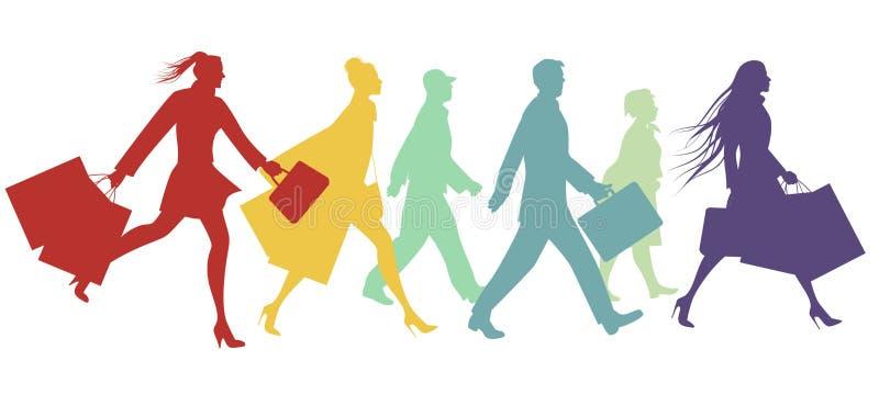 Konturer av folk som går i gatan stock illustrationer