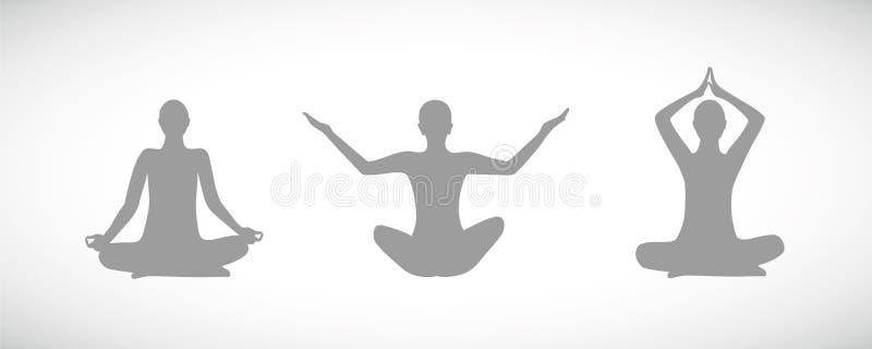 Konturer av folk som sitter i yoga, poserar för avkoppling och meditation vektor illustrationer
