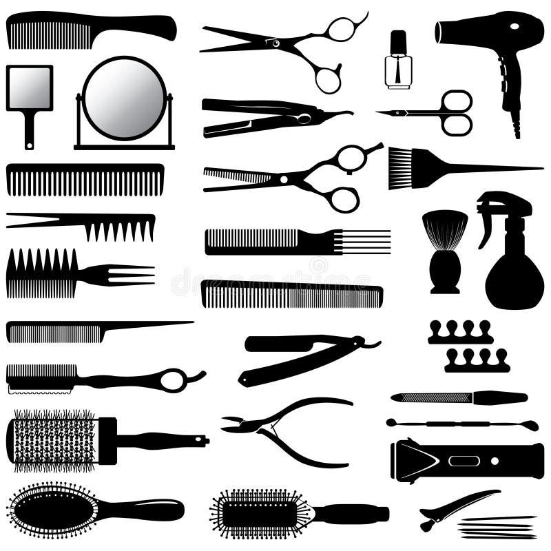 Konturer av hjälpmedel för frisören vektor illustrationer
