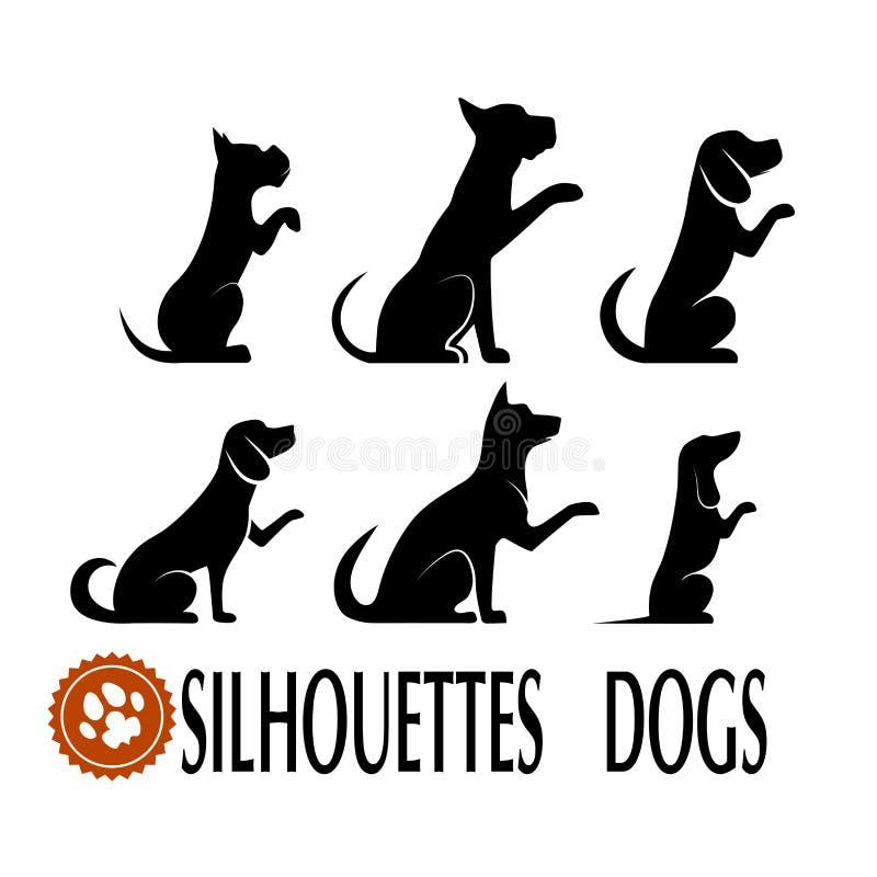 Konturer av hundkapplöpninguppsättningen stock illustrationer