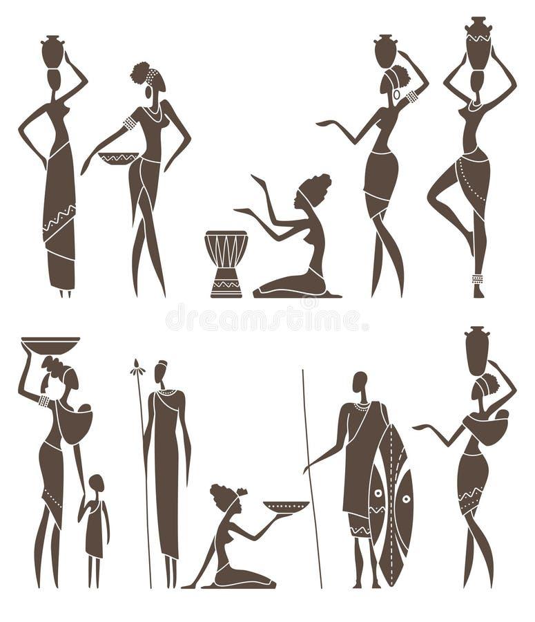 Konturer av infödda afrikanska män och kvinnor royaltyfri illustrationer