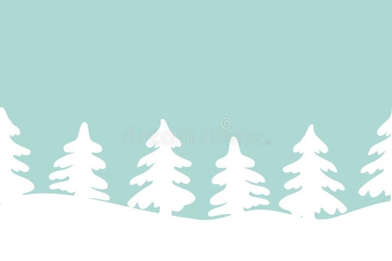 Konturer av julgranar på en blå bakgrund seamless kant stock illustrationer