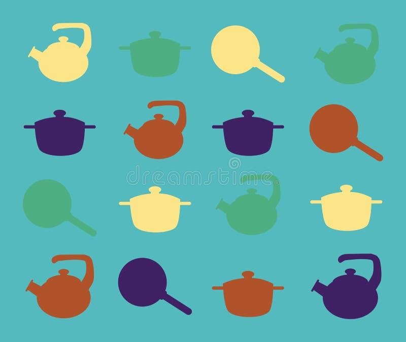 Konturer av köksgeråd på en turkosbakgrund royaltyfri illustrationer