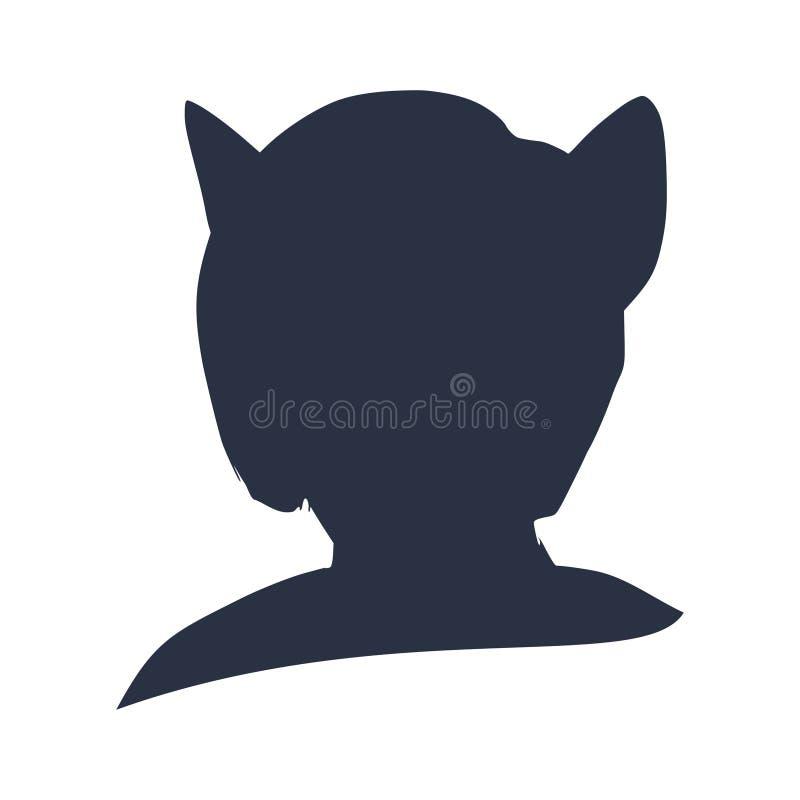 Konturer av kattkvinnan stock illustrationer