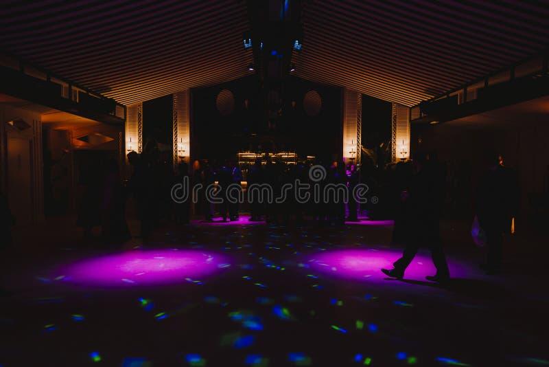 Konturer av konserten tr?nger ihop framme av ljusa etappljus Disko och utelivbegrepp royaltyfri foto