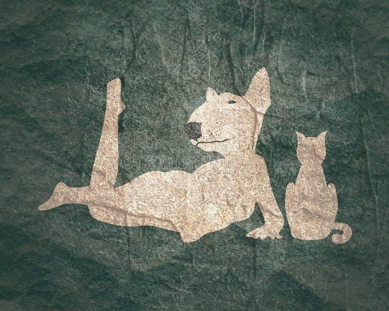 Konturer av kvinnan och katten royaltyfri bild