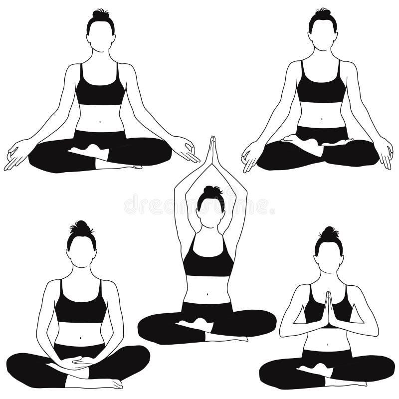 Konturer av kvinnasammanträde i meditationyoga poserar stock illustrationer