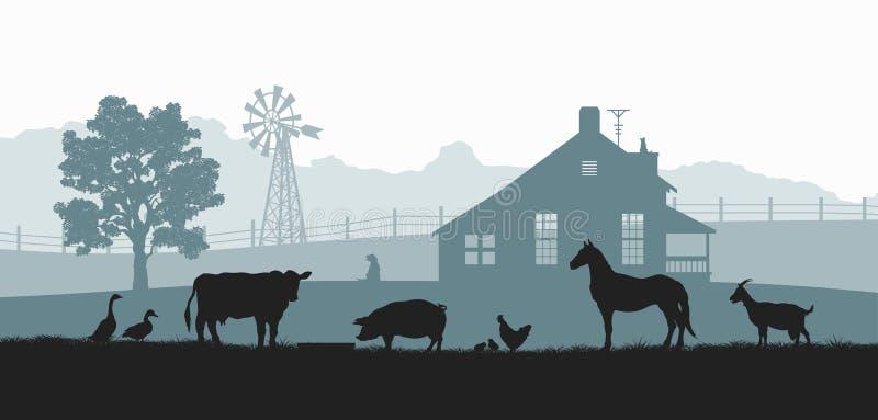 Konturer av lantg?rddjur Lantligt landskap med kon, hästen och svinet Bypanorama för affisch Bondehus vektor illustrationer
