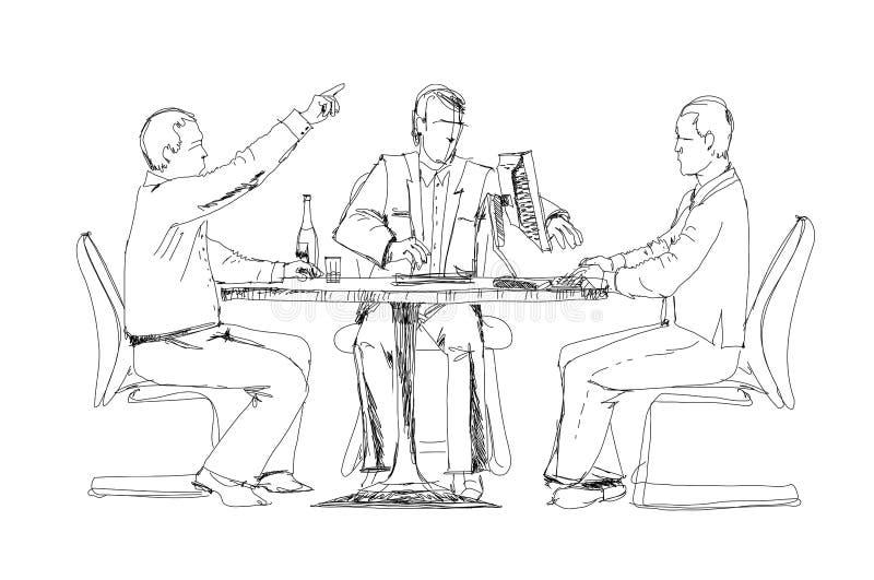 Konturer av lyckat affärsfolk som arbetar på möte stock illustrationer