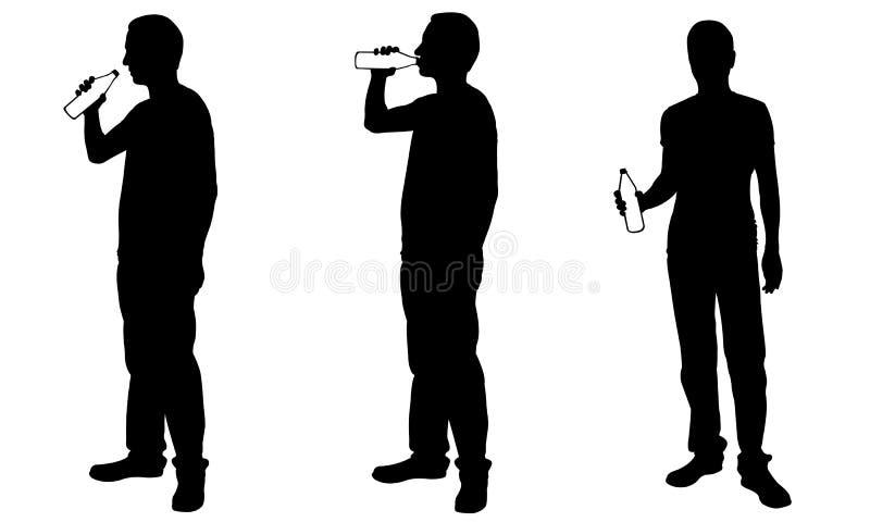 Konturer av män som dricker från flaskor stock illustrationer