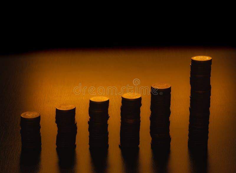 Konturer av myntbunten Buntar av mynt av olika h?jder Diagram f?r vertikal st?ng royaltyfria bilder