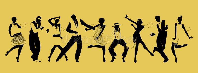Konturer av nio personer som dansar charleston royaltyfri illustrationer
