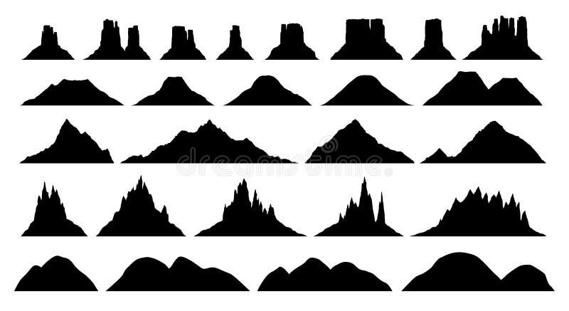 Konturer av olika bergtyper royaltyfri illustrationer