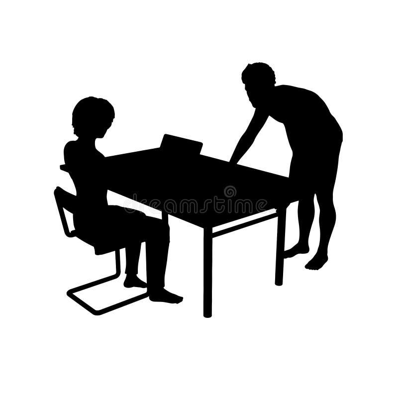 Konturer av pojkar och flickor på tabellen vektor illustrationer