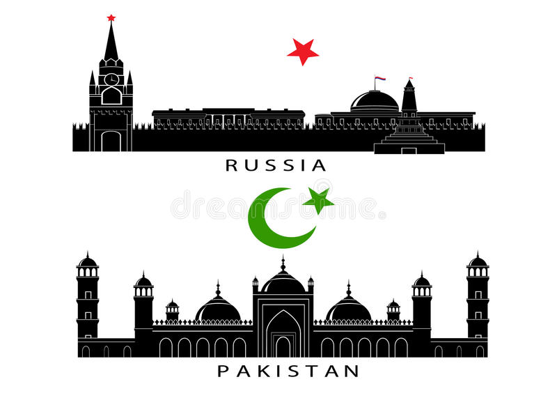 Konturer av sikt av Ryssland och Pakistan stock illustrationer
