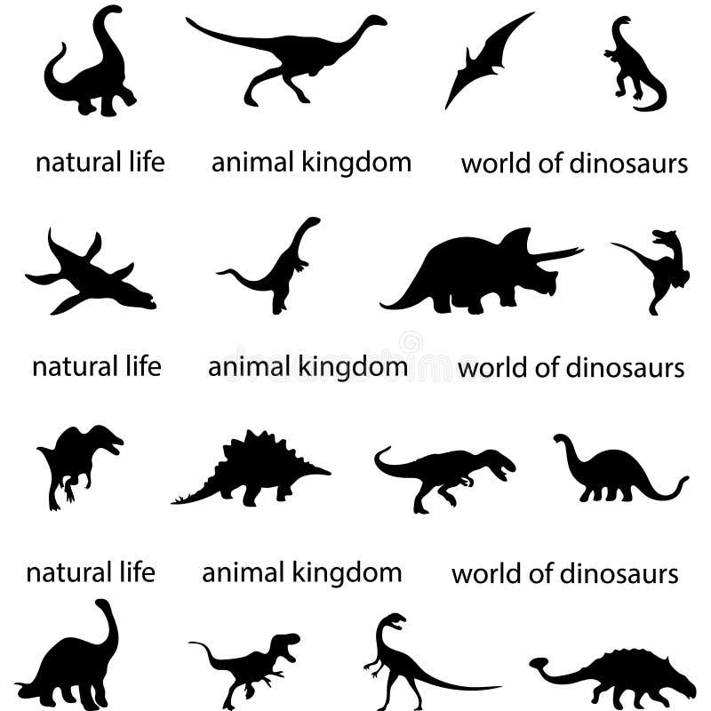 Konturer av skugga för dinosaurie för era för köttätande dinosaurie för arkeologi för värld för rovdjurs- historia för dinosaurie royaltyfri illustrationer
