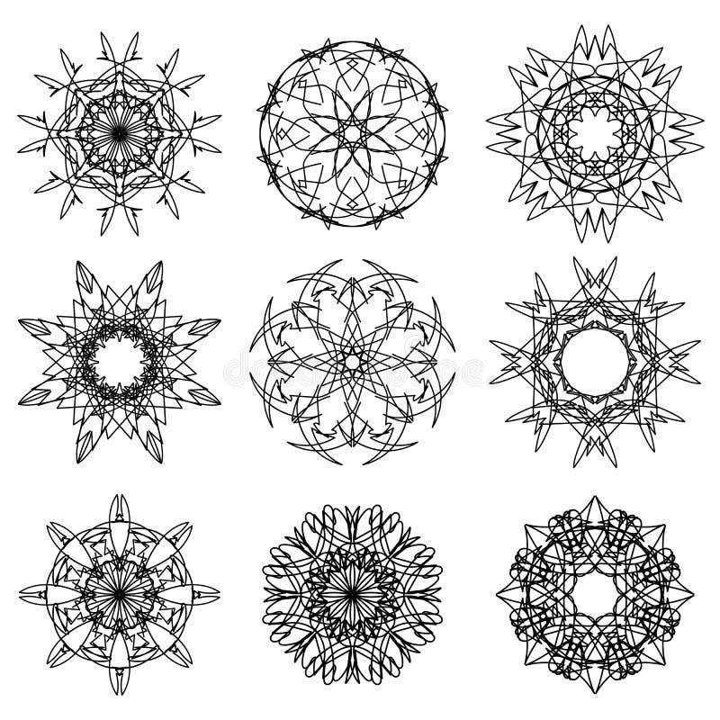 Konturer av snöflingor vektor illustrationer