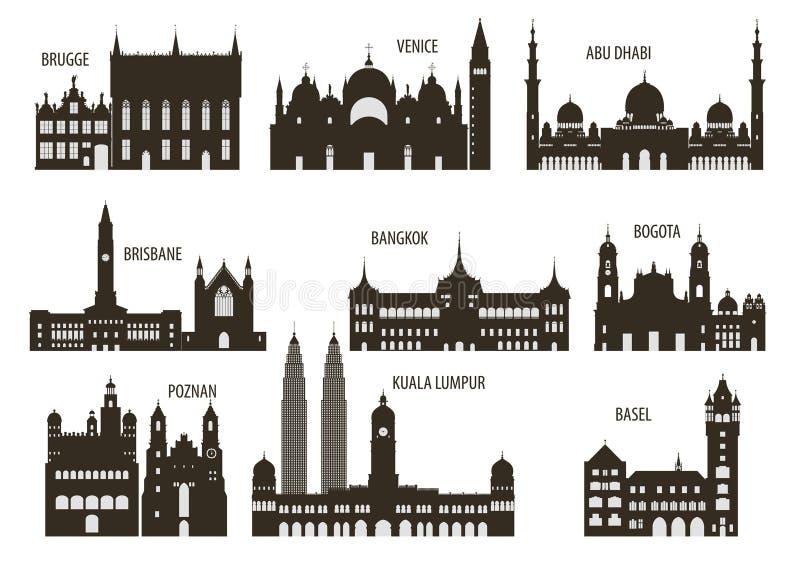 Konturer av städer stock illustrationer